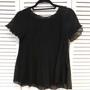 Banana Republic Black Sheer Short Sleeve Blouse XS